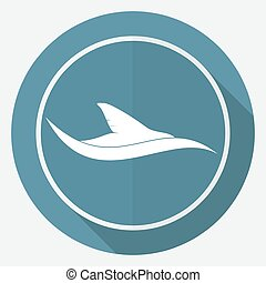 Icon shark on white circle with a long shadow
