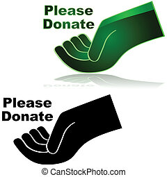 """Icon showing an open hand with the words """"Please donate"""" beside it"""