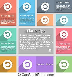 icon sign. Set of multicolored buttons. Metro style with space for text. The Long Shadow Vector