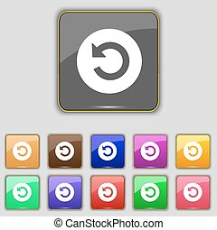 icon sign. Set with eleven colored buttons for your site. Vector