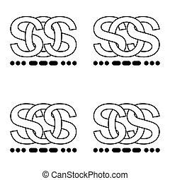 Icon Sign SOS symbol interlaced letters S O S sign Morse ...