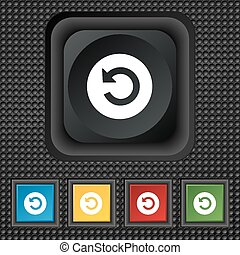icon sign. symbol Squared colourful buttons on black texture. Vector