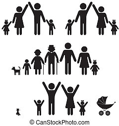 icon., silhouette, famiglia, persone