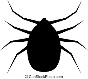 Icon, Silhouette of a Mite . - Mite sign isolated on white...