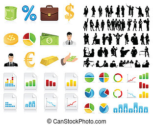 icon., silhouettes, vecteur, hommes affaires, illustration