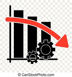 Icon simple illustration, Falling down Productivity Business Progress at trans[arent effect background