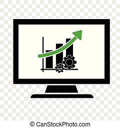 Icon simple illustration, Productivity Business Progress Monitoring thru computer at transparent effect background