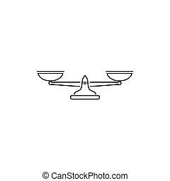 icon., simple, vector, negro, escalas, ilustración, línea, ...