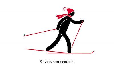 Icon skier in a red hat and scarf. Looped animation with...