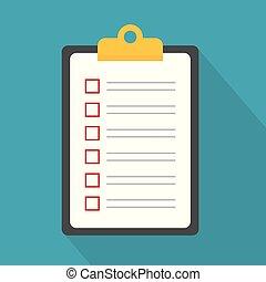 icon-, skrivplatta, checklista, illustration, vektor