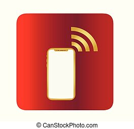 Icon smartphone and free wifi