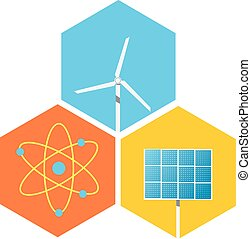 icon solar panels, wind turbines, atom