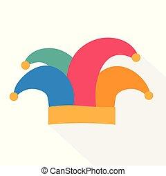 icon-, sombrero, vector, bufón, ilustración