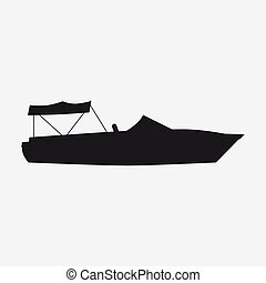 Icon speed boat, boat, side view silhoutte. Vector, isolated simple style