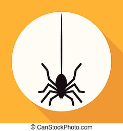 Icon Spider on white circle with a long shadow