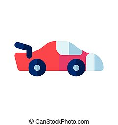 Icon sport car in flat style. vector illustration and editable stroke. Isolated on white background.