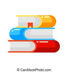 Icon stack of books in flat style.