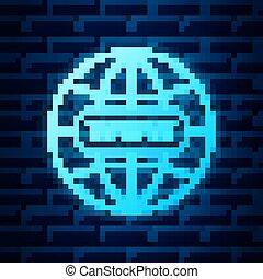 icon., standort, symbol., symbol, freigestellt, hintergrund., pictogram., internet, glühen, mauerstein, web, wand, welt, ikone, www, vektor, dein, app, gehen, abbildung, neon, ui., design, website, breit