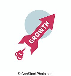 Icon start up, growth. Rocket in form of red arrows taking...