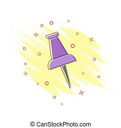 Icon, stationery button in the style of comics. Splash effect, flat design.