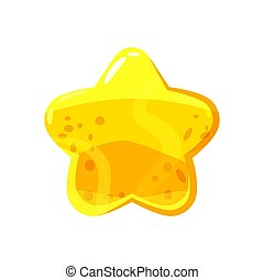 icon., ster, illustration., kleurrijke, gelei, versuikeren, vrijstaand, honing, vorm, vector, glanzend, achtergrond, witte , glanzend, style., spotprent