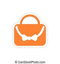icon sticker realistic design on paper bag