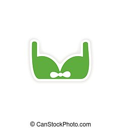 icon sticker realistic design on paper brassiere