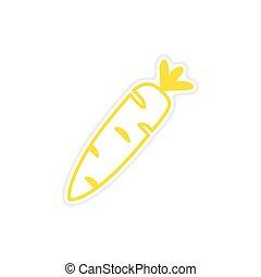 icon sticker realistic design on paper carrot