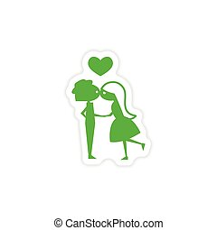 icon sticker realistic design on paper Girl kisses boy