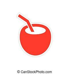 icon sticker realistic design on paper coconut cocktail