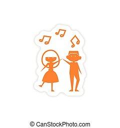 icon sticker realistic design on paper couple dancing
