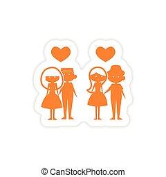icon sticker realistic design on paper couples love