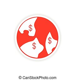 icon sticker realistic design on paper currency indexation