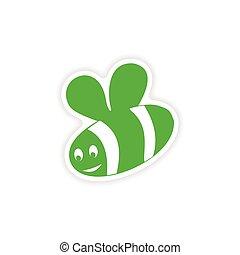 icon sticker realistic design on paper bee
