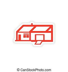 icon sticker realistic design on paper house