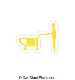 icon sticker realistic design on paper loader truck box