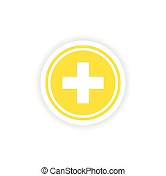 icon sticker realistic design on paper medicine logo