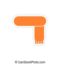 icon sticker realistic design on paper scarf