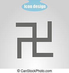 Icon swastika on a gray background. Vector illustration. The symbol of Hinduism