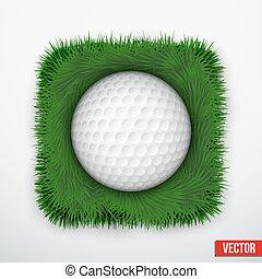 Icon symbol golf ball in green grass. Vector.