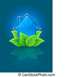 icon symbol of ecological house with green leaves
