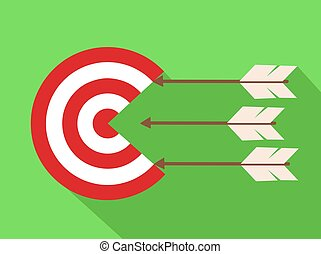 icon target with arrows in flat design, stock vector illustration