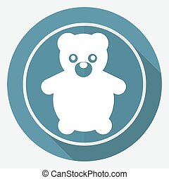 Icon Teddy Bear Toy on white circle with a long shadow