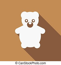 Icon Teddy Bear Toy with a long shadow