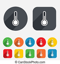 icon., termómetro, temperatura, símbolo., señal