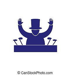Icon the President greets by raising his hands at the microphone on an isolated white layer. Vector image. Silhouette.