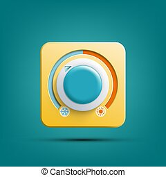 Icon thermostat. Climate control regulator. Vector...