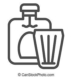 icon., toile, style, vecteur, 10., alcool, app., boisson, isolé, illustration, eps, verre, white., cognac, conçu, bouteille, ligne, conception, contour