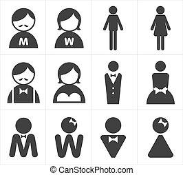 icon toilet man and woman