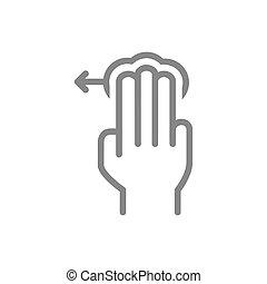 icon., toucher, 3x, ligne, trois, gauche, symbole, robinet, ...